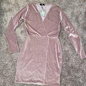 Misguided Velvet Glitter Wrap Dress